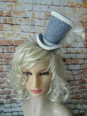 Simple Elegant HARRIS TWEED Blue Ivory Mini Top Hat Fascinator Headband (HT7)