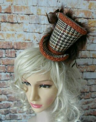 Elegant HARRIS TWEED Brown Terracotta Mini Top Hat Fascinator (HT7)