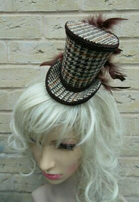 Elegant HARRIS TWEED Brown Hound Tooth Mini Top Hat Fascinator (HT7)