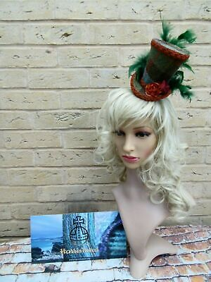 Stunning HARRIS TWEED Green Brown Tartan Mini Top Hat Fascinator Headband (HT4)1