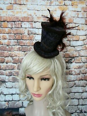 Stunning HARRIS TWEED Brown Mini Top Hat Fascinator Alice-band (HT2).
