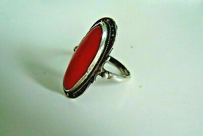 very old imperial Russian 84 silver ring with red coral and marcasite stones