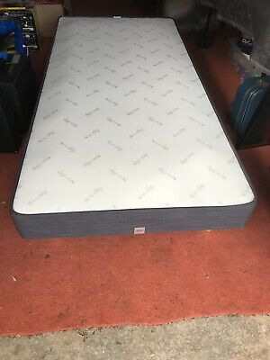 3ft M&S sprung single divan bed base with screw in legs - Charcoal Grey fabric