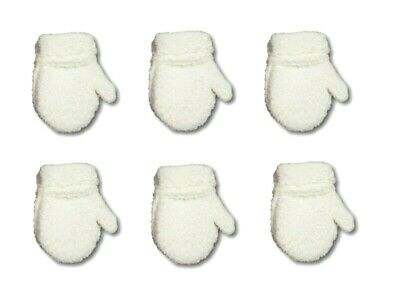 Newborn Baby Winter Fluffy Mittens With String Plain Gloves Boy Girl UnisexWhite