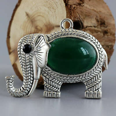 Collect China Old Miao Silver Inlay Agate Hand-Carve Auspicious Elephant Pendant