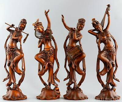 Collectable China Antique Boxwood Hand Carve Four Fairy Exquisite Vivid Statue