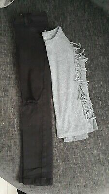 Girls NEXT Bundle age 9 Black jeans with grey top