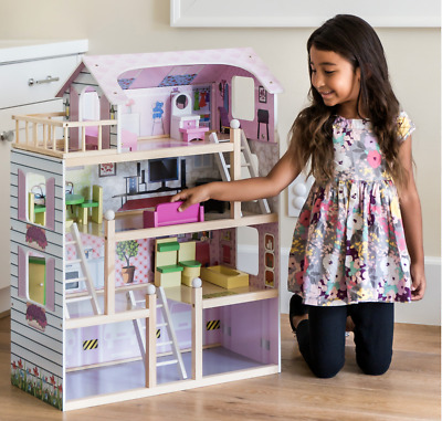 Barbie Dream House Wooden Dollhouse & Furniture Girls Playhouse Townhouse Play