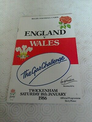 1986-England V Wales-Five Nations-Twickenham Rugby Union Programme-
