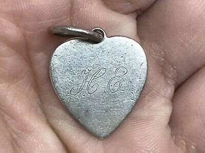 Tiffany & Co Sterling Silver Monogrammed Heart Tag Pendant Charm