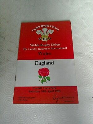 Wales v England 1985 rugby programme Cardiff Arms Park 20 April
