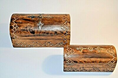 Vintage Old Wooden Hand Fine Carved Beautiful Boxes ,2 Pcs