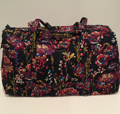 NEW Vera Bradley Large Duffel Bag Midnight Wildflowers Pattern Foldable 15826
