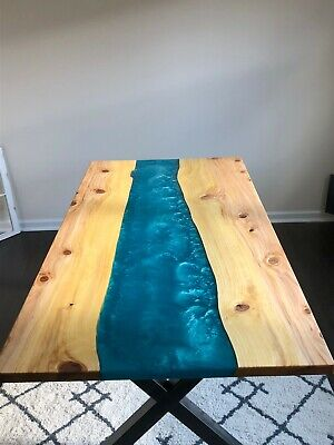 Brand New Live Edge Epoxy Resin River Dining Table
