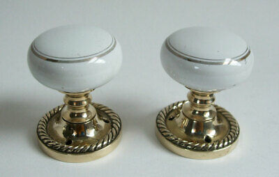 Pair of Reclaimed Vintage White Ceramic Door Knobs. Brass Rope Edged Back Plates