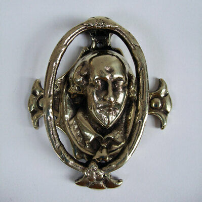 Large Heavyweight Solid Brass Antique Shakespeare Head Door Knocker.
