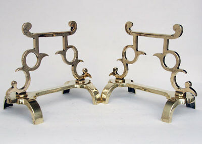 Original Antique Aesthetic Polished Brass Andirons / Fire Dogs / Fire Iron Rests