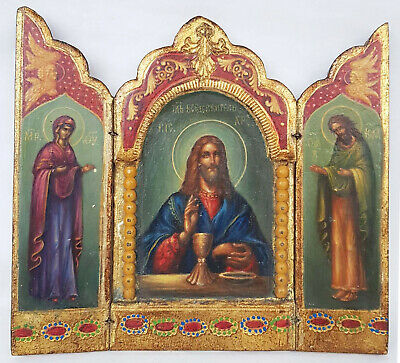 Antique 19th C Russian Hand Painted Wood Icon Triptych (Deesis Row)