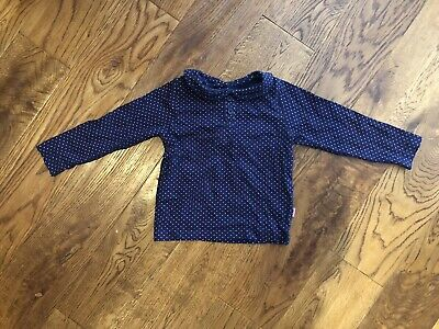 jojo maman bebe 18-24 girls Peter Pan Collar Polka Dot Pink/blue Top T Shirt Vgc