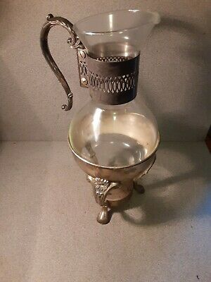 Metal possibly silver glass carafe pitcher jug