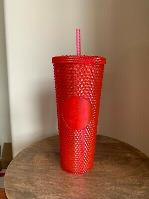 STARBUCKS HOT PINK Neon Holidays 2019 Cold Cup Tumbler Studded NEW