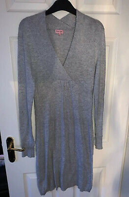 Ladies Phase Eight Light Grey Long Sleeved Jumper Dress Size 10