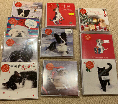 Joblot Wholesale Quality Christmas Card Packs X 10 Sealed RRP £2.99 Dogs Cats