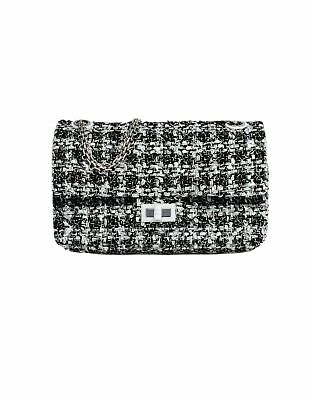 100% Authentic Chanel NWT 2019 Black/White Tweed 2.55 Reissue Flap Bag