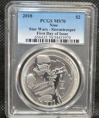 2018 $2 1oz Silver Niue Star Wars Stormtrooper PCGS MS70 First Day of Issue