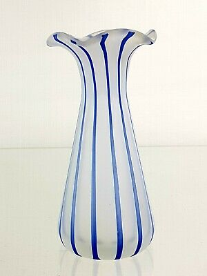 Vintage Murano Blue Striped Satin Glass Vase with a Ruffled Rim & Ground Base