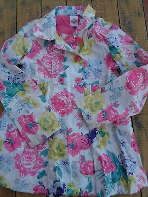 John Lewis Floral Pattern Coated Cotton Mac Coat Jacket with Hood age 10 - 140cm