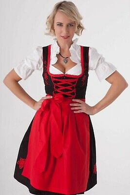 Red, black and white Dirndl with tags - Dirndl.com - UK size 20