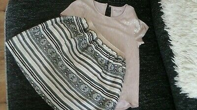 Pretty sparkly Girls skirt and top set 8/9 years Nutmeg