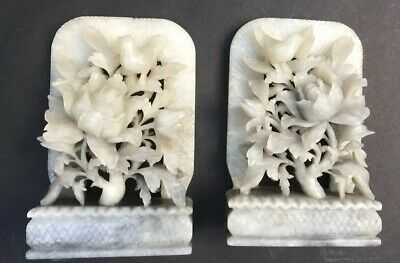 Antique Asian Chinese Handcarved Soapstone BOOKENDS Birds Flowers