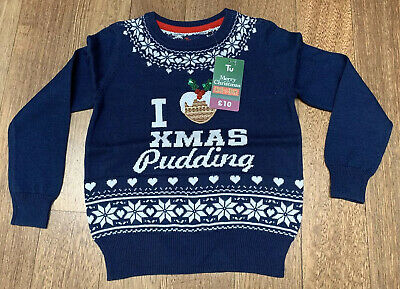 Tu Girls Blue Christmas Pudding Jumper. Age 3 Years. BNWT