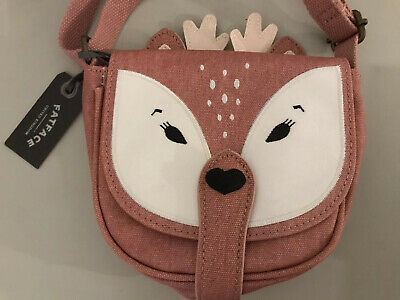Fatface Pink Canvas Deer Girls Fabric Handbag Press Stud Fastening Nee With Tags
