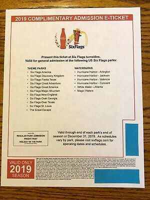 Four (4) 2019 Six Flags Theme Park Single Day General Admission Tickets