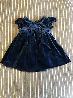 Next Puff Sleeve Baby Girls Velvet Navy Blue Party Xmas Dress 9-12 Months