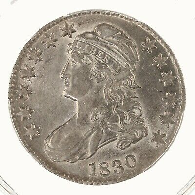 1830 Capped Bust 50C PCGS Certified Cleaned Genuine AU Details Small 0