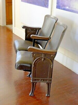 Antique Theater Seats HEYWOOD-WAKEFIELD 1920's Prohibition Era Set of 2 Chairs