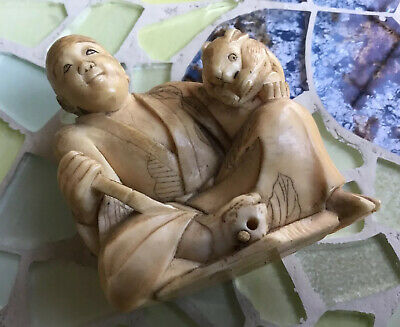 Antique Japanese Netsuke Figure & Abalone Inlaid Box 150+ Years Old