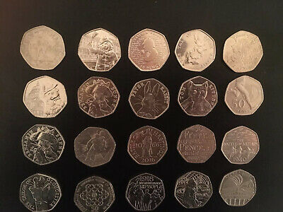 20 x Various 50p Fifty Pence Coins Paddington Peter Rabbit Sherlock Girl Guides