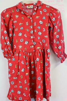 1960s Vintage Girls Christmas Long Sleeved Brushed Cotton Mix Dress 5yrs