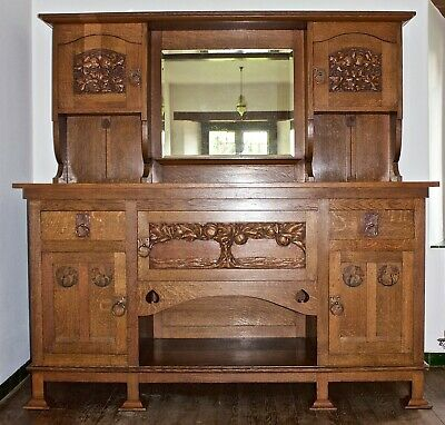 E A Taylor Wylie & Lockhead Arts And Crafts Glasgow Exhibition Oak Sideboard