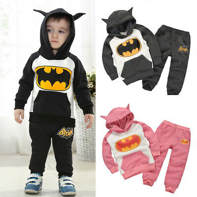 Kids Boys Girls Batman Tracksuit Hoodies Sweatshirt Tops Pants 2PCS Outfit Sets