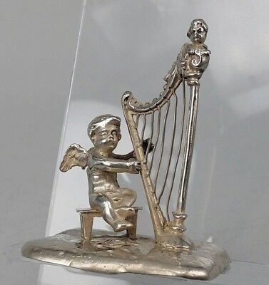 1899 Victorian Miniature silver cherub at the harp Chester by Berthold Muller