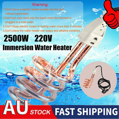 Portable 2500W Water Heater Electric Immersion Element Boiler Bath Tub Outdoor