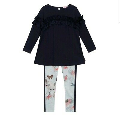 Ted Baker - Girls' navy frill top and leggings set. 9-10 Years. Designer