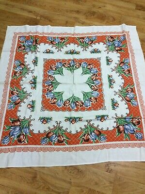 Vintage Collectable Retro Old Floral  Tablecloth
