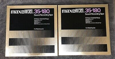 "LOT of 2 Maxell Ultra Dynamic 35-180 10"" Sound Recording Tape Metal Reel Vintage"